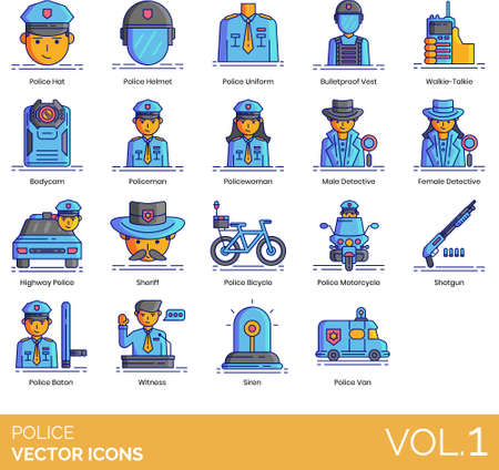Police icons including hat, helmet, uniform, bulletproof vest, walkie-talkie, bodycam, policeman, policewoman, detective, highway, sheriff, bicycle, motorcycle, shotgun, baton, witness, siren, van.