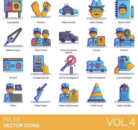 Police icons including case board, coroner, cruiser, state trooper, sketch artist, ballistic expert, escort, armored vehicle, trainee, prisoner, ID card, emergency, crime investigation, ambulance, criminal report, office, sniper, achievement, traffic cone, call box.