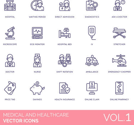 Medical and healthcare icons including hospital, waiting period, direct admission, diagnostics, ask a doctor, microscope, ECG monitor, bed, IV, stretcher, nurse, shift rotation, ambulance, emergency chopper, price tag, savings, health insurance, online claim, pharmacy.