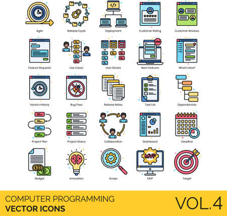 Computer programming icons including agile, cycle, deployment, customer rating, review, request, use case, user story, feature, what's new, version history, bug fix, release note, task list, dependency, project plan, status, collaboration, dashboard, deadline, budget, innovation, scope, MVP, target. 向量圖像