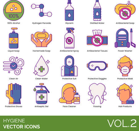 Hygiene icons including 100% alcohol, hydrogen peroxide, glycerin, distilled water, antibacterial, liquid, homemade soap, spray, tissues, power washer, clean air, protective suit, goggles, mask, gloves, antiseptic gel, face cleaner, flossing, hair product. Векторная Иллюстрация