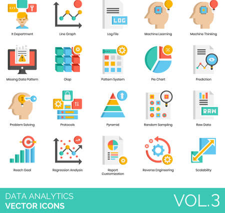 Data analytics icons including IT department, line graph, log file, machine learning, thinking, missing pattern, olap, system, pie chart, prediction, problem solving, protocols, pyramid, random sampling, raw, reach goal, regression analysis, report customization, reverse engineering, scalability.