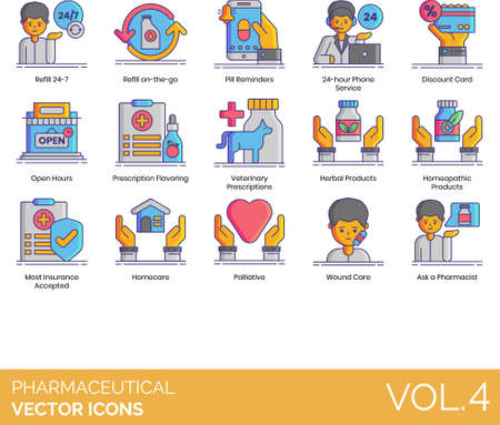 Pharmaceutical icons including refill 24-7, on the go, pill reminder, 24-hour phone service, discount card, open hours, prescription flavoring, veterinary, herbal product, homeopathic, most insurance accepted, homecare, palliative, wound care, ask a pharmacist. Vektorové ilustrace