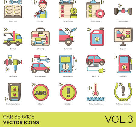 Car service icons including book, mechanic, cost, history, wheel alignment, tow truck, wrenching, maintenance, oil, diagnostic, painting work, body repair, electric, gas station, remote keyless system, ABS light, brake, temperature warning, tire pressure monitoring.