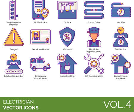 Electrician icons including surge protector extension, UPS, toolbox, broken cable, live wire, danger, license, warranty, apprenticeship, 24h service number, emergency intervention, home rewiring, DIY electrical work, system inspector.