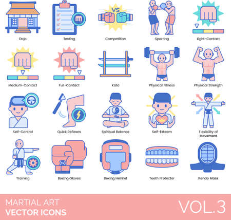 Martial arts icons including dojo, testing, competition, sparring, light contact, medium, full, kata, physical fitness, strength, self-control, quick reflexes, spiritual balance, self-esteem, flexibility of movement, training, boxing gloves, helmet, teeth protector, kendo mask.