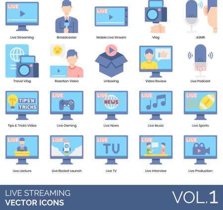 Live streaming icons including broadcaster, mobile, ASMR, travel vlog, reaction, unboxing, video review, podcast, tips trick, gaming, news, music, sport, lecture, rocket launch, TV, interview, production. Ilustración de vector