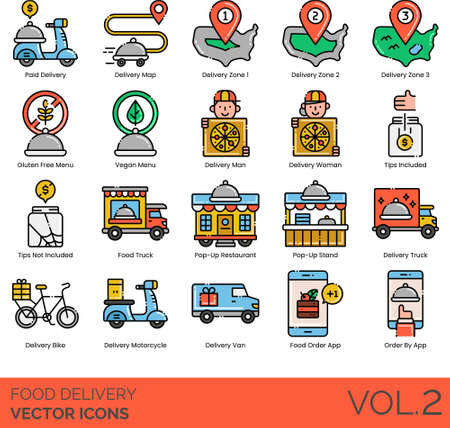 Food delivery icons including paid, map, zone, gluten free menu, vegan, man, woman, tips not included, truck, pop-up restaurant, stand, bike, motorcycle, van, order by app. Vectores