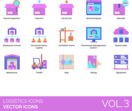 Logistics icons including inspection, parcel in, out, SKU description, barcode, distribution center, consumer direct, container crane, warehouse management system, master data, forklift, mail, stamp, signboard.