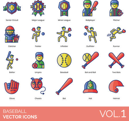 Baseball icons including senior circuit, major league, minor, ballplayer, pitcher, catcher, fielder, infielder, outfielder, runner, batter, umpire, ball, two bats, glove, cheats, hat, helmet.