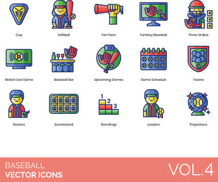 Baseball icons including cup, softball, fan horn, fantasy, three strikes, watch live game, bar, upcoming, schedule, team, roster, scoreboard, standings, leader, projection. Reklamní fotografie - 146381865