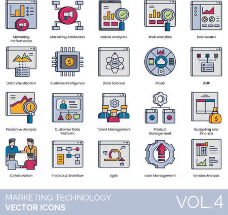 Marketing technology icons including performance, attribution, mobile analytics, web, dashboard, data visualization, business intelligence, science, iPaaS, DMP, predictive analysis, customer platform, talent, product, budgeting, finance, collaboration, project, workflow, agile, lean management, vendor.