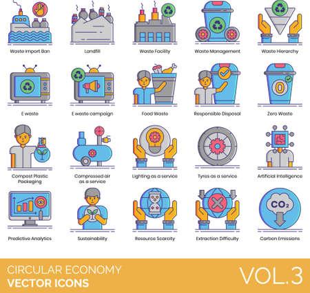 Circular economy icons including import ban, landfill, facility, management, hierarchy, e-waste campaign, food, responsible disposal, zero waste, compost plastic packaging, compressed air as a service, lighting, tyres, artificial intelligence, predictive analytics, sustainability, resource scarcity, extraction difficulty, carbon emission. Illustration