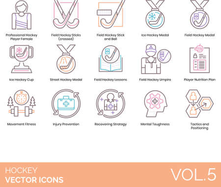 Hockey icons including professional player female, field stick and ball, ice medal, cup, street, lesson, umpire, nutrition plan, movement fitness, injury prevention, recovering strategy, mental toughness, tactics, positioning.