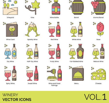Winery icons including vineyard, vine, wine bottle, aroma barrel, card, sparkly, red, white, rose, dry, half-dry, fruity, full-bodied, mature, spicy, sweet, food pairing, menu, cheese. Stock Illustratie