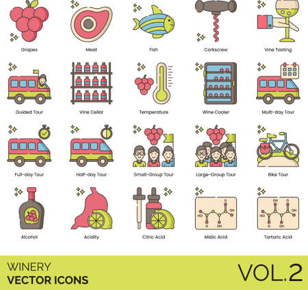Winery icons including grapes, meat, fish, corkscrew, vine tasting, guided tour, cellar, temperature, wine cooler, multiday, full day, half day, small, large group, bike, alcohol, acidity, citric acid, malic, tartaric.
