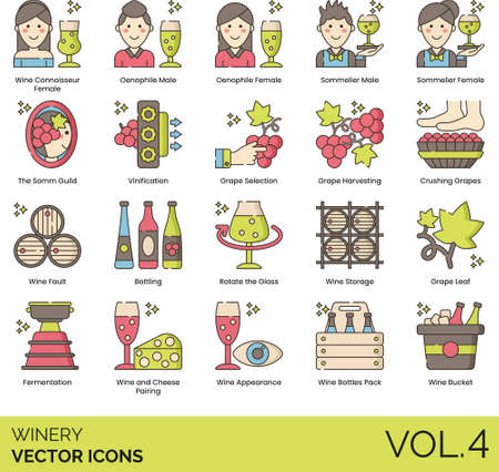 Winery icons including connoisseur, oenophile, sommelier, male, female, the somm guild, vinification, grape selection, harvesting, crushing, wine fault, bottling, rotate the glass, storage, leaf, fermentation, cheese pairing, appearance, bottle pack, bucket.