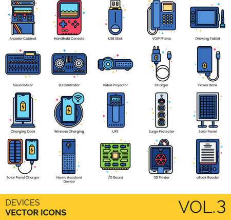 Devices icons including arcade cabinet, handheld console, usb stick, voip phone, drawing tablet, sound mixer, dj controller, video projector, charger, power bank, charging dock, wireless, ups, surge protector, solar panel, home assistant, i/o board, 3d printer, ebook reader.