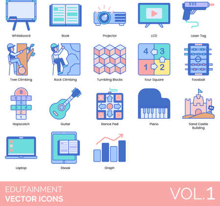 Edutainment icons including whiteboard, book, projector, LCD, laser tag, tree, rock climbing, tumbling blocks, four square, foosball, hopscotch, guitar, dance pad, piano, sand castle building, laptop, e-book, graph. Stock Illustratie