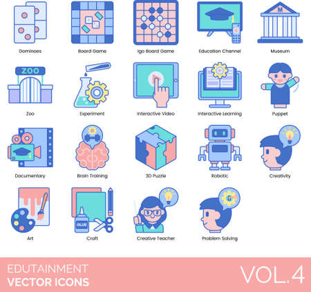 Edutainment icons including dominoes, board game, education channel, museum, zoo, experiment, interactive video, learning, puppet, documentary, brain training, 3d puzzle, robotic, creative, art, craft, teacher, problem solving. Vectores
