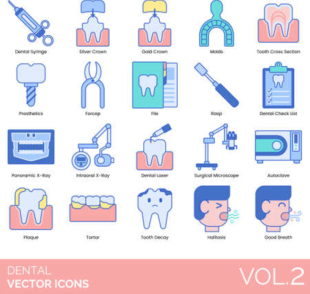 Dental icons including syringe, silver crown, gold, molds, tooth cross section, prosthetics, forceps, file, rasp, checklist, panoramic, intraoral x-ray, laser, surgical microscope, autoclave, plaque, tartar, decay, halitosis, good breath.