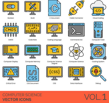 Computer science icons including boolean, build, C document, cable connector, cloud coding, CMOS, code rate, language, command line, case, display, memory, degree, cooling system, critical error, CSS, data interface, debug.