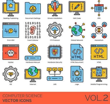 Computer science icons including desktop publishing, document setting, driver installation, edit code, ERD, error 404, event listener, FTP protocol, global network, hackathon, hacker, hardware manual, security, HTML, IDE, internet, LAN, log, mobile programming.