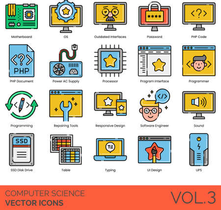 Computer science icons including motherboard, OS, outdated interface, password, PHP code, document, power AC supply, processor, program, programmer, programming, repairing tools, responsive design, software engineer, sound, SSD disk drive, table, typing, UI, UPS. Vector Illustration
