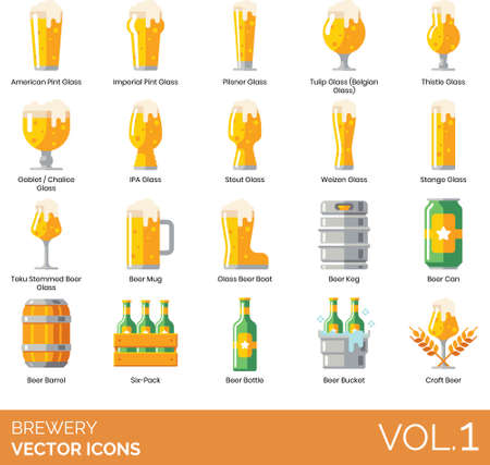 Brewery icons including american pint glass, imperial Vettoriali