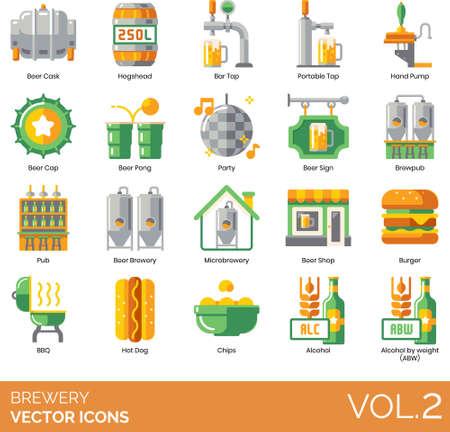 Brewery icons beer cask, hogshead, bar tap, portable, hand pump, cap Иллюстрация