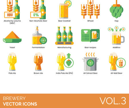 Brewery icons including alcohol by volume, abv, non alcoholic beer, cocktail