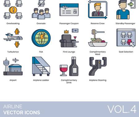 Airline icons including overbooking, oversale, passenger coupon, reserve crew