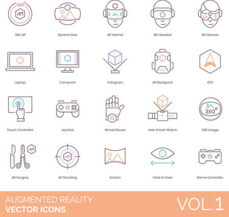 Augmented reality icons including 360 AR, sphere, helmet, headset, glasses