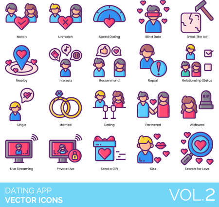 Dating app icons including match, unmatch, speed, blind date, break the ice