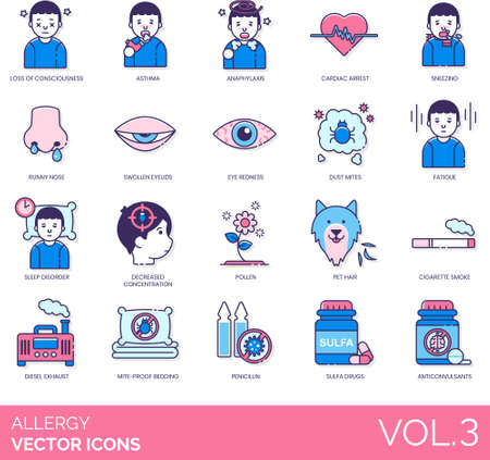 Allergy icons including loss of consciousness, asthma, anaphylaxis, cardiac arrest