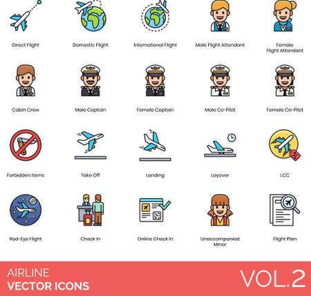 Airline icons including direct, domestic, international, male, female flight attendant, cabin crew, captain