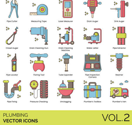 Plumbing icons including pipe cutter, measuring tape, laser measurer Vectores