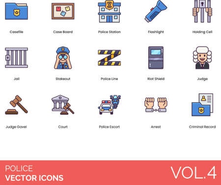 Police icons including casefile, case board, station, flashlight