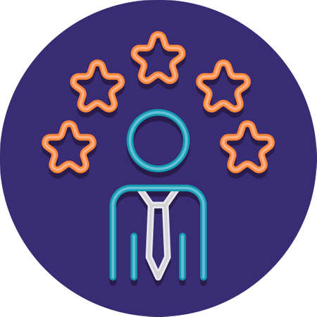Flat vector icon illustration of male with stars above head. Employee abilities concept.