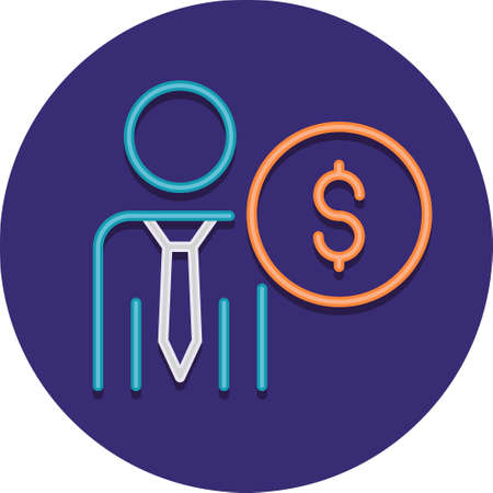 Flat vector icon illustration of employee cost. Male worker with dollar symbol.