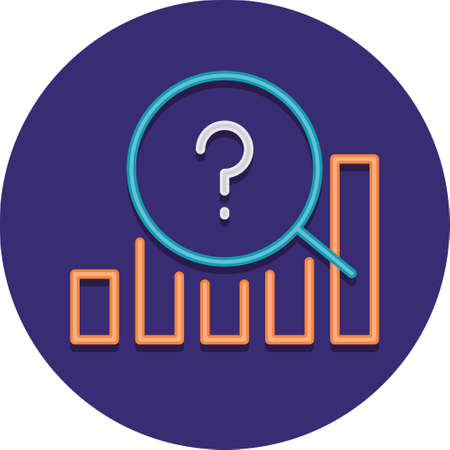 Flat vector icon illustration of market prediction. A bar graph with question mark.