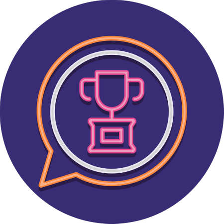 Flat vector icon illustration of a trophy in a speech bubble. Business and career motivation concept.