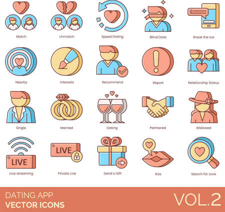 Dating app icons including match, unmatch, speed, blind date