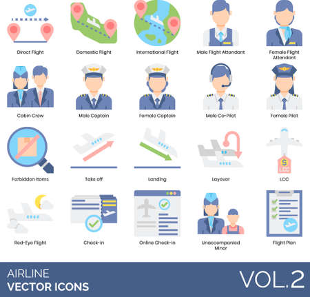 Airline icons including direct, domestic, international,