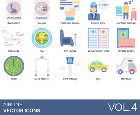 Airline icons including overbooking, oversale, passenger coupon, r Çizim
