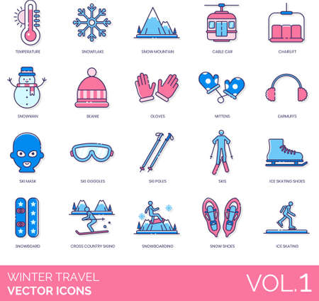 Winter travel icons including temperature, snowflake, snow mountain