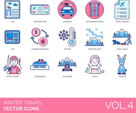 Winter travel icons including VISA, boarding pass, car rental, ski equipment