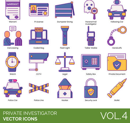 Private investigator icons including warrant, PI license, dumpster diving, paranormal, following car, canvassing, coded bag, flashlight, talkie walkie, handcuffs, watch, cctv, legal, safety box, document, police line, hacker, security lock, bullet.
