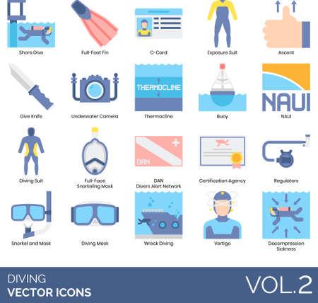 Diving icons including shore, full foot fin, C-card, exposure suit, ascent, knife, underwater camera, thermocline, buoy, NAUI, face snorkeling mask, DAN, certification agency, regulator, wreck, vertigo, decompression sickness.