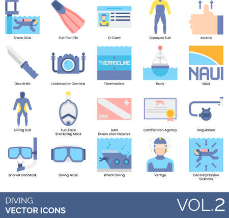 Diving icons including shore, full foot fin, C-card, exposure suit, ascent, knife, underwater camera, thermocline, buoy, NAUI, face snorkeling mask, DAN, certification agency, regulator, wreck, vertigo, decompression sickness. Ilustração